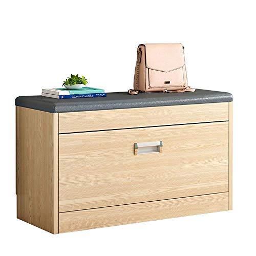 PYROJEWEL Banco de calzado Bastidores Zapato otomana de almacenamiento en rack de zapato de madera gabinete con amortiguador de asiento for Pasillo Dormitorio 80x50x24cm ahorro de espacio Fácil Ensamb