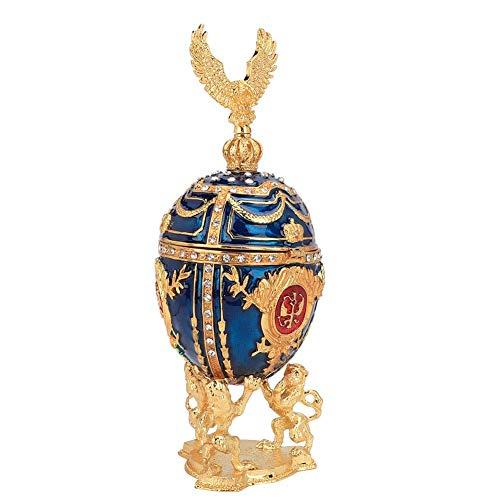 Decoraciones para el hogar, adornos de joyero de artes de metal con diamantes brillantes pintados esmaltados chapados en oro