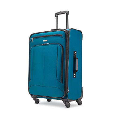 American Tourister Pop Max Softside Luggage with Spinner Wheels, Teal, Checked-Medium 25-Inch