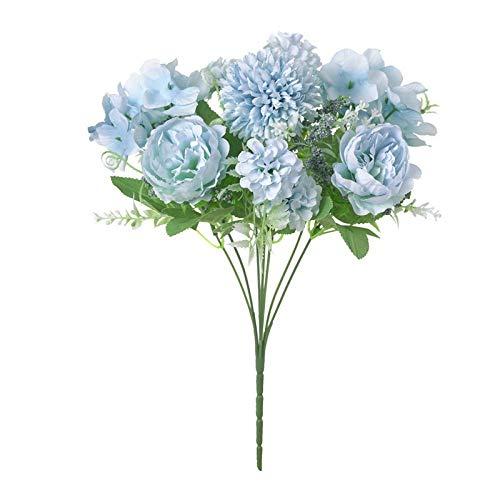 Artificial Flowers Pas Cher 32 Cm Rose Rose Soie Pivoine Bouquet De Fleurs Artificielles 9 Têtes Et 4 Bourgeons Pas Cher Fausses Fleurs Pour La Déc 5