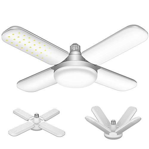 60W LED Garage Lights, 6000LM E26 Deformable LED Garage Ceiling Lights with 4 Adjustable Panels, LED Shop Lights for Garage, Warehouse, Basement, Barn Light (60W)