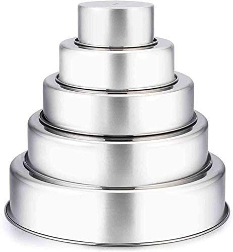 TeamFar Cake Pan 4 6 8 9 11 Stainless Steel Round Baking Tier Cake Pans Set Healthy Heavy Duty product image