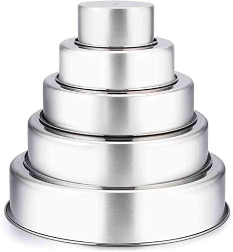 TeamFar Cake Pan, 4'' - 6'' - 8'' - 9½'' - 11'', Stainless Steel Round Baking Tier Cake Pans Set, Healthy & Heavy Duty, Mirror Finish & Dishwasher Safe - Set of 5