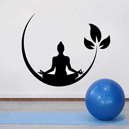 Hetingyue Yoga en meditatie, zenen, boeddhistisch, vinyl, muurstickers voor slaapkamer, afneembaar, papier, wandsticker, yoga-decoratie