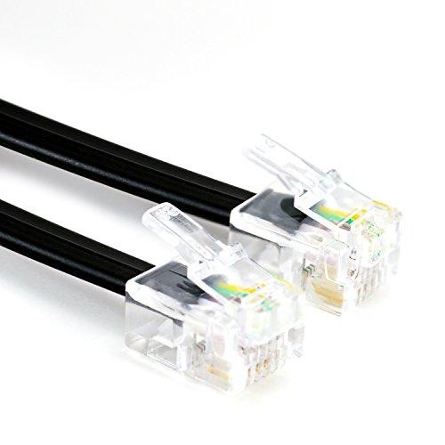 CSL - 15m Telefonkabel Modularkabel Westernanschlusskabel mit 2xRJ11 6P4C 4-polig belegt 1 zu 1 - DSL - ISDN - Modem -NTBA -UAE genormte RJ-Steckverbindung - geeignet für analoge und ISDN-Telefone und -Faxe Anrufbeantworter Splitter NTBA DSL-Router- und Modems etc.- 15,0 Meter - schwarz