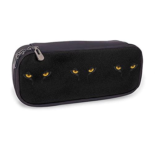Estuche para lápices de piel con diseño de gato negro en la oscuridad, para niñas y adultos