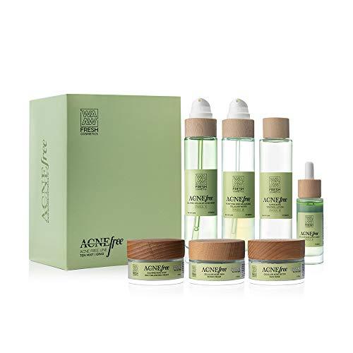 Wawa Fresh Cosmetics, Rostro, 7 pasos ACNE FREE LINE Pieles mixtas, grasas, cuidado de la piel 100% natural, set 7 productos