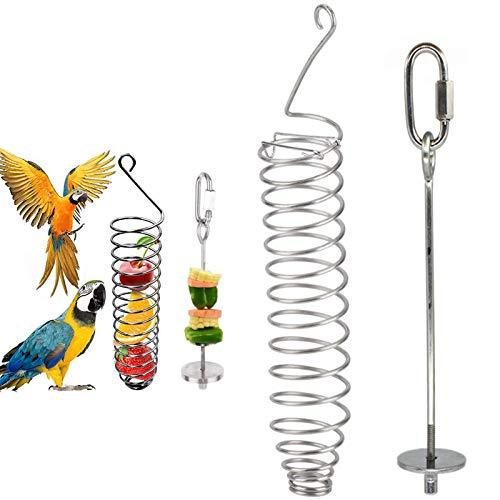 2PCS Alimentador de Pájaros en Espiral Titular Fruta Pájaro, Pincho para Frutas y Verduras de Acero Inoxidable para Pájaros para Loros, Periquitos, Cacatúas, Canarios