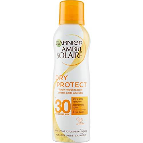 Garnier Ambre Solaire Crema Protezione Solare Dry Protect, Spray Nebulizzatore Protettivo Effetto Pelle Asciutta, IP30, 200 ml, Confezione da 1