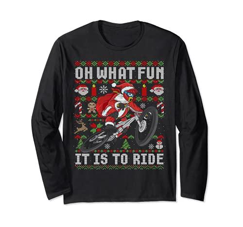 Oh ¿Qué divertido es montar bicicleta de montaña MTB fea Navidad Manga Larga