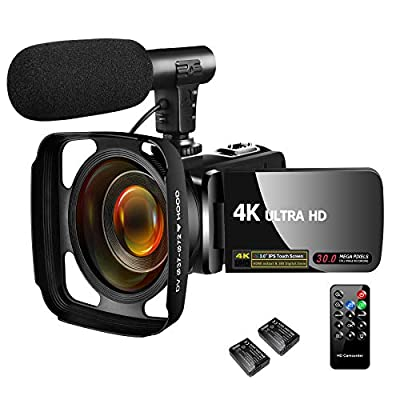 Video Camera Camcorder 4K 30MP Digital Camcorder Camera with Microphone Ultra HD Vlogging Camera with Remote Control,3 in Touch Screen from SAULEOO
