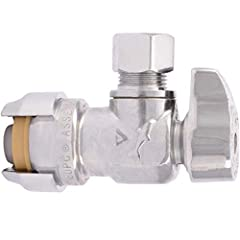 INSTALLS IN SECONDS: 1/2 inch push-fit x 3/8 inch threaded compression angle shut off valve requires no special tools, no soldering, no crimping or glue. Just push to create a watertight seal PERFORMANCE: Rated to 200 PSI and 200 Degree F. Use in Pot...