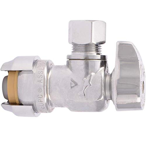 Product Image of the SharkBite 23036-0000LF 1/2' Ptc x 3/8' Compression Angle Stop Valve