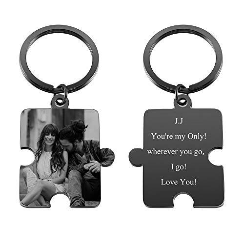 Zysta Personalized Text & Fotogravur - Edelstahl Puzzle Schlüsselanhänger mit Gravur Schwarz Gravurplatte Keychain Schlüsselbund für Personalisierte Geschenke