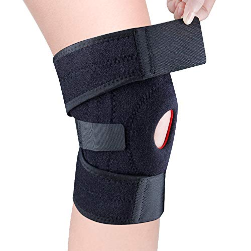 HOPAI Kniebandage Atmungsaktiver Sport Knieschoner Kompression Kniestütze rutschfeste Einstellbar Kniebandage Klettverschluss und Patellaöffnung für Damen und Herren