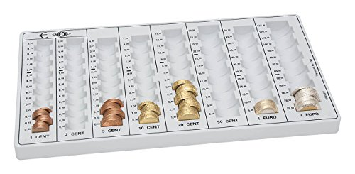 Wedo 160100837 Geld-Zählbrett (aus Polystyrol, 8 Münzrillen, rutschfeste Gummifüße, 32,8 x 17,8 x 3,1 cm) lichtgrau