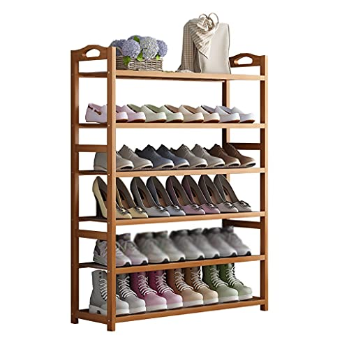 Zapatero Zapato Rack de 6 Capas Piso de bambú Estante de Zapatos Dormitorio Sala de Estar Display Pantalla Pasaje Pasaje Organizador Cocina Vajilla Almacenamiento Estante Zapateros Baratos