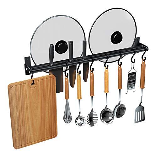 Personalized Gift Idea Estante para Utensilios de Cocina 50/60/70 cm Estante para ollas para ollas Soporte para Colgador de Utensilios montado en la Pared Barra con 10 Ganchos