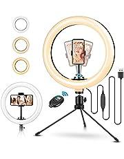 ELEGIANT LED-ringljusstativ 10,2 tums Selfie-ringljus Makeup Dimbar 3 ljusfärger + 11 ljusstyrkenivåer Justerbart stativstång Mobiltelefonhållare för Tiktok YouTube Live Stream Selfie Portrait Volg Make-Up