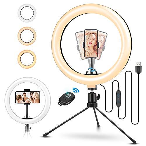 ELEGIANT Aro de Luz Trípode Fotografía, 10.2' Anillo de Luz Selfie con Control Remoto 120 LED 3 Modos 11 Niveles de Luz para TikTok Youtube Instagram Vlog Vídeo Maquillaje Enseñanza para iOS Android