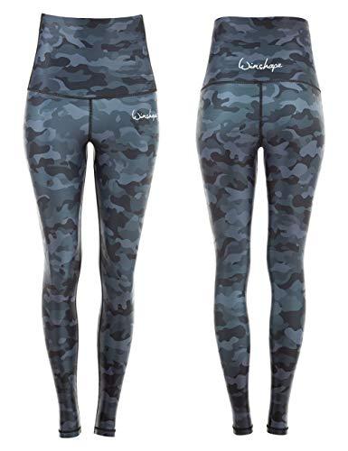 WINSHAPE Damen Functional Power Shape Tights High Waist HWL102, Print, Slim Style Leggings, Camo-Grey, L