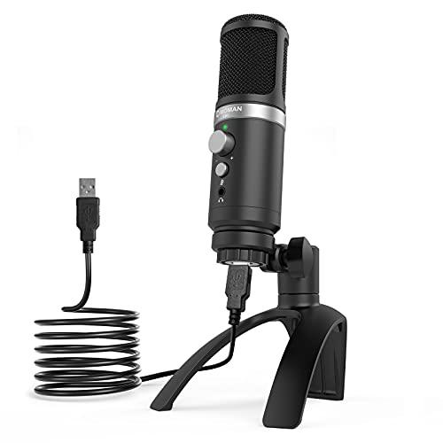 Moman USB-Mikrofon-PC-Gaming-Studio, Kondensator Kardioide Microphone, Echtzeitüberwachung, Stummschaltung, einstellbare Ständer, Richtmikrofon Laptop Computer Smartphone Handy YouTube Podcast EM1