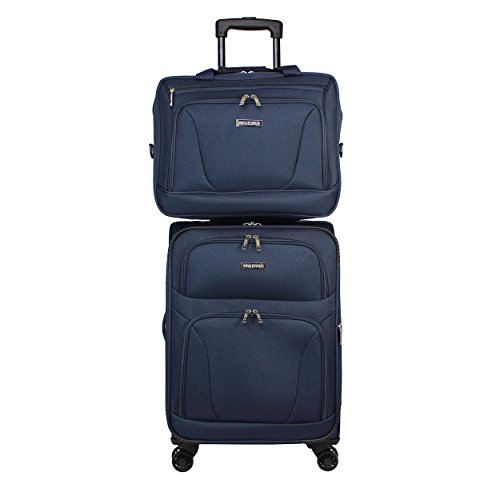 World Traveler Embarque Lightweight 2-piece Carry-on Spinner Luggage Set-Navy, One Size