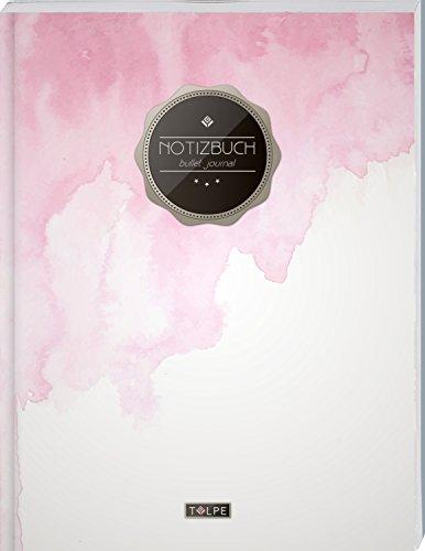 """TULPE Bullet Journal A4 """"C084 Aquarell"""" (140+ Seiten, Vintage Softcover, Punktkariertes Papier – Punktraster Notizbuch, Handlettering, Skizzenbuch, Zeichenbuch)"""