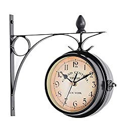 CAO-Decor Bracket Clocks, Outdoor Garden Double Sided Clock, Silent Non Ticking, Vintage Retro Ornament Indoor/Outdoor Mute Grand Central Station Wall Clock, 21.8cm,a