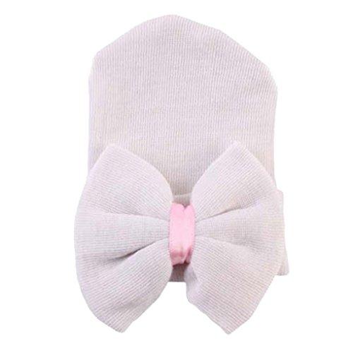 wufeng 0-6 Meses recién Nacido Sombreros del bebé recién Nacido del algodón 0-6 Meses Beanie con el Arco Suave de Punto a Rayas de Neumáticos Tapas para bebé Niños Bebe Fotografía Sombreros