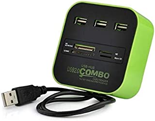 All In One Multi-card Reader, LED With 3 Ports USB 2.0 Hub Combo,Green