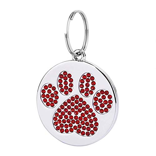 Barlingrock 2019 Fashion Diamond Paw Print Round Stainless Steel Pet ID Tag for Dogs and Cats, Personalized, Engraved with up to 4 Lines of Custom Text