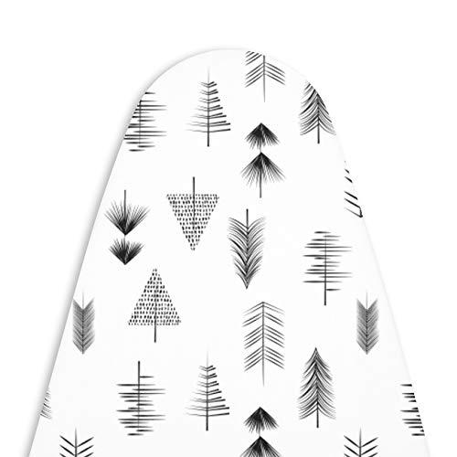 Encasa Homes Cubierta Tabla de Planchar con Almohadilla de Fieltro 3 mm, cordón de tracción (Encaja estándar Medio (114 x 35 cm) Resistente al Calor, abrasión y Manchas, Impresa - Blanco/Flech