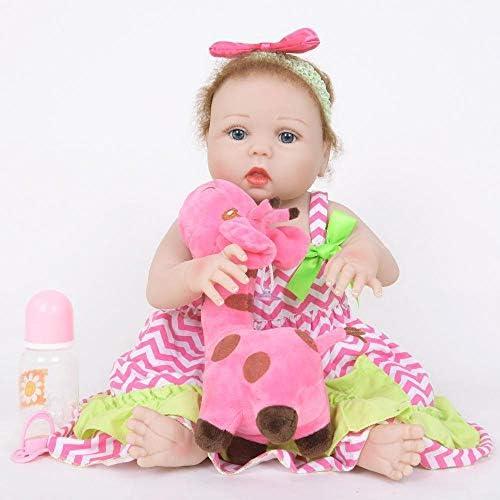 Hongge Reborn Baby Doll,Lebensechte Silikonpuppe Wiedergeburt Kinder Spielen Partner Reborn Puppe Spielzeug Geschenk 55cm