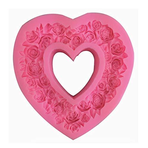 OBTANIM Molde de silicona en forma de corazón para fondant en relieve, guirnalda de amor, para bodas, San Valentín, chocolate, postre, galletas, mousse, decoración de pasteles de queso, color rosa