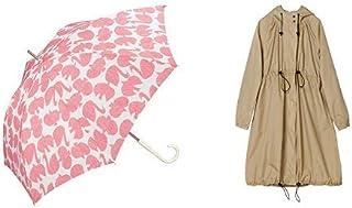 【セット買い】ワールドパーティー(Wpc.) 雨傘 長傘 ピンク 58cm レディース リントゥ 97638-09 PK+レインコート ポンチョ レインウェア ベージュ FREE レディース 収納袋付き R-1101 BE