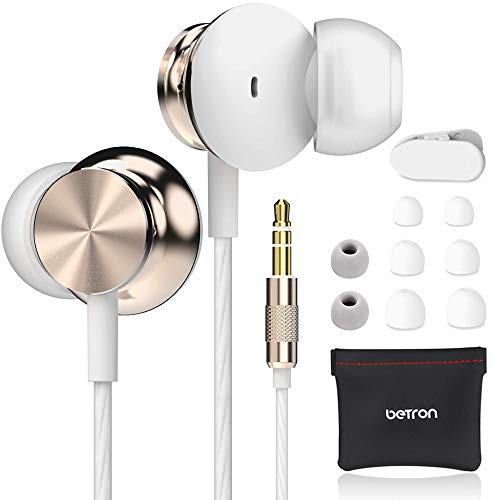 Betron BS10 Earphones, in Ear Headphone, Noise Isolating Earbuds, Powerful Bass Sound, 3.5mm Jack Compatible with iPhone, iPad, iPod, Samsung, Nokia, HTC, Mp3 Players etc, Black