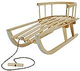 Warez Trineo de nieve de madera para niños con respaldo de asiento y cuerda SN