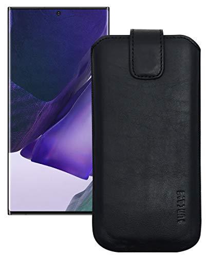 Suncase Etui Tasche kompatibel mit Samsung Galaxy Note 20 Ultra Hülle mit ZUSÄTZLICHER Hülle/Schale/Bumper Lasche mit Rückzugfunktion Handytasche Ledertasche Schutzhülle in schwarz