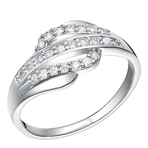 KnSam Trauringe Zirkonia Ring Frau Silber Kupfer Versilber Linie Silber Ring Valentinstag Gedenkenstag Geschenk