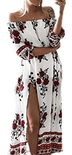 AILIENT Damen Elegant Wort Kragen Rückenfrei 3/4-Arm Blumendruck Drucken Taille Kleid Schlanke Maxikleider Strandkleid Cocktailkleid Strandkleid