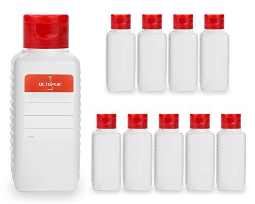 Octopus 10 Botellas de plástico 100 ml, Botellas de plástico de HDPE con Tapones abatibles Rojos, Botellas vacías con Tapa abatible roja, Botellas rectangulares con 10 Etiquetas para marcar