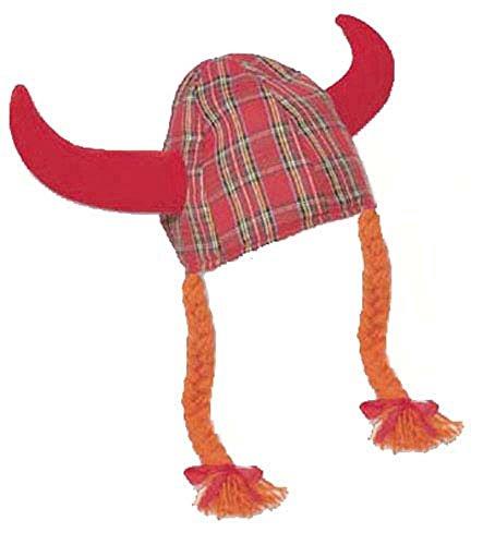 I Luv LTD Fun Jessie Red Hat tartan Horns et tresses Viking
