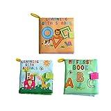 YeahiBaby 3 stücke Stoff Baby Tuch Bücher Intelligenz Entwicklung Weiche bücher Frühe Pädagogische Vorschule Lernbuch