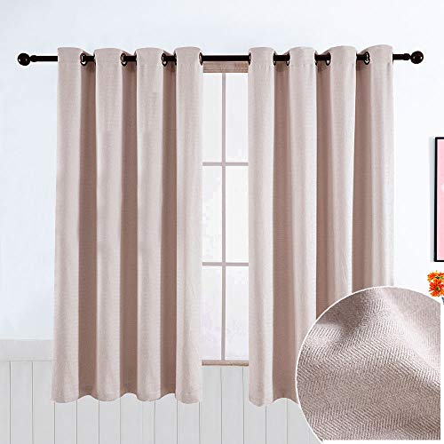 GRALI 63-inch Window Treatment Set, Zig Zag Wave Textured Eyelet Curtain Panels for Light Filtering Privacy Protect, Cream, W52×H63, 2 Pieces