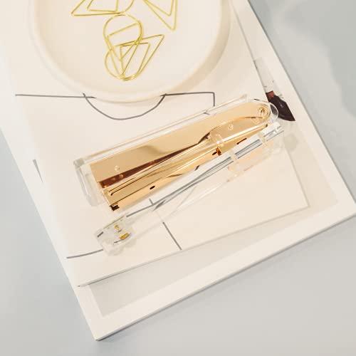 Gold Stapler for Desk - Cute Stapler for Office - Clear Acrylic Stapler - Desktop Designer Stapler - Elegant Desk Accessory, Trendy Novalty Stapler - Pretty Office Space - Lucite, Large Office Stapler Photo #7