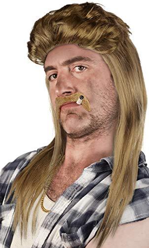 Set aus: Vokuhila Perücke + Bart + Goldkette - Rocker Prollperücke Vokuhilaperücke Proll Pimp Blond Brünette Grau Schwarz 80er 90er Jahre (Blond + Bart + Goldkette)