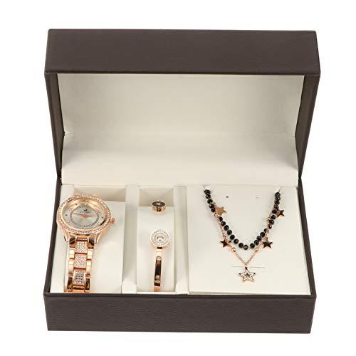 UKCOCO Reloj de Cristal Brazalete Estrella de Diamantes de Imitación Collar Conjunto de Joyas Pulsera de Cristal Acentada para Cumpleaños Mamá Cumpleaños Boda Aniversario Suministros