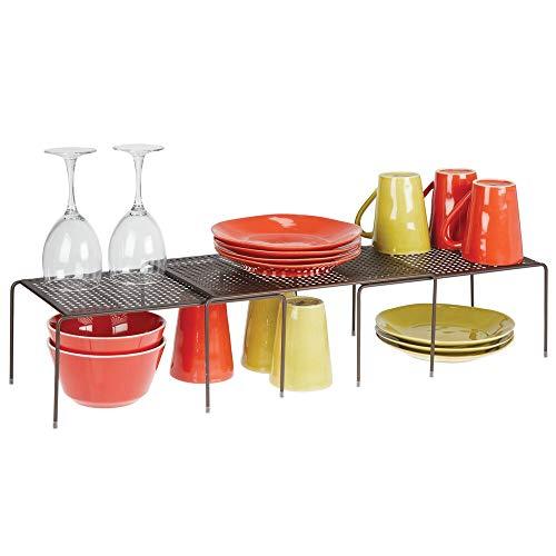 mDesign Set da 3 Porta piatti e porta stoviglie allungabile – Scaffale cucina salvaspazio – Ideale per ottimizzare gli spazi e sfruttare ogni centimetro – bronzo