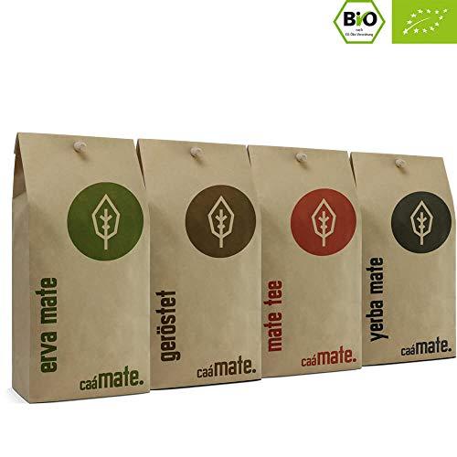 Bio Mate Tee Probierset | 4 verschiedene Matetee Sorten zum ausprobieren | 200g frische Erva Mate + 200g roh Mate + 200g frischer Matetee + 200g gerösteter Matetee